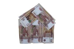 House made of Russian rubles. A lot of Russian money in the form of a house. five thousandth bills. Russian currency. five thousand rubles. Russian paper royalty free stock photo
