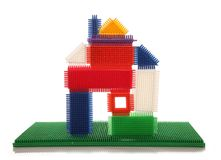 House made of stickle bricks. House made from stickle bricks cutout Stock Image