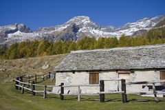 House made of stone on the alps Stock Images
