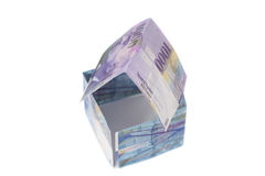 House Made of  Swiss francs banknotes.Currency of Switzerland. Isolated Royalty Free Stock Photo