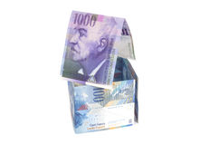 House Made of  Swiss francs banknotes.Currency of Switzerland Royalty Free Stock Image