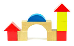 House made from toy wooden colorful blocks Royalty Free Stock Photography
