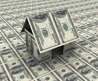 House made up of dollar. 3d render of house made up from dollar notes Royalty Free Stock Photo