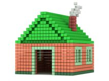 House made by voxels Royalty Free Stock Photo