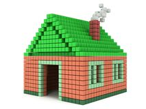 House made by voxels Stock Photo