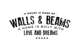 A house is made of walls and beams. A home is built with love and dreams quote illustration royalty free illustration