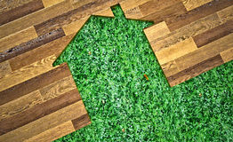 House made of wood and grass. On the grass Royalty Free Stock Photos