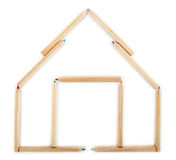 House made of wooden pencils. Royalty Free Stock Photos
