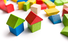 House made from wooden toy blocks Stock Images