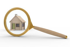 House and magnifier on white background Stock Photo