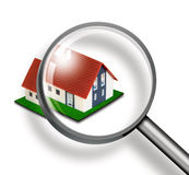 House through magnifying glass concept Royalty Free Stock Photos