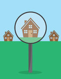 House Magnifying Glass Stock Photo
