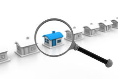 House and magnifying glass Royalty Free Stock Photography