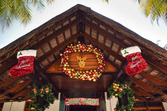 House at Maldives decorated for Christmas with balls and socks Stock Photography