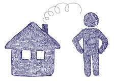 House and Man Icons Stock Image