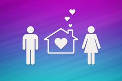 House with man, woman and heart inside. Housing, family concept. Paper house with man, woman and heart inside on colorful background. Housing, family concept Stock Photography