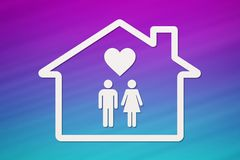 House with man, woman and heart inside. Housing, family concept. Paper house with man, woman and heart inside on colorful background. Housing, family concept Royalty Free Stock Photos
