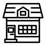 House with mansard window line icon. Small cottage with attic vector illustration isolated on white. Home outline style. Design, designed for web and app. Eps royalty free illustration