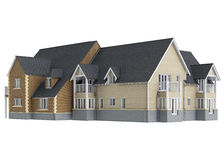 House mansion long. 3D graphic  object on white background Royalty Free Stock Photo