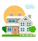 House mansion or villa cottage courtyard view vector flat icon. House courtyard view landscape. Vector flat mansion or villa cottage building facade with garden Stock Images
