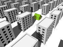 "House among many blocks of flats. Green ""ecological"" house surrounded by many blocks of flats Stock Photo"