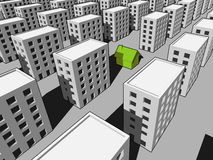 """House among many blocks of flats. Green """"ecological"""" house surrounded by many blocks of flats Royalty Free Stock Images"""