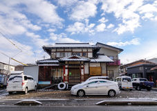The house with many cars in Takayama, Japan Stock Photo