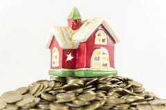 House and many coins on a white background Stock Image