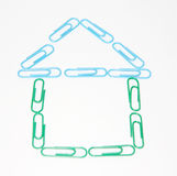 House from many green and blue plastic paper clips Stock Image