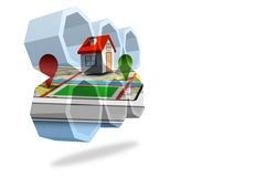 House on a map on abstract screen Royalty Free Stock Images