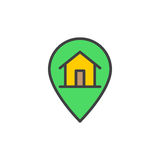House on map pointer filled outline icon, vector sign Stock Photos