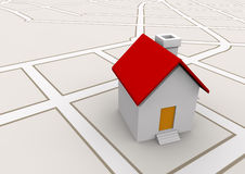 House in map real estate concept Stock Photo