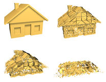 House Market Collapse. Gold house model collapsing in a series of 4 stages. Symbol of housing market crash, investment risk, or a downturn in the housing market Royalty Free Stock Image