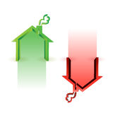 House market up and down. Illustration design over white Royalty Free Stock Photos