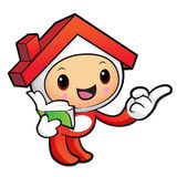 House mascot the right hand guides and the left hand is holding Royalty Free Stock Photos