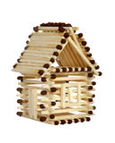 House from matches. Log house from matches pattern isolated on white. Clipping path included Royalty Free Stock Image