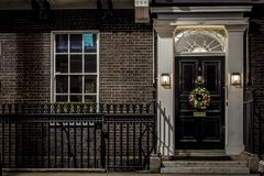 House in Mayfair in Christmas evening, London Royalty Free Stock Photography