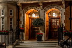 House in Mayfair in Christmas evening, London Royalty Free Stock Images