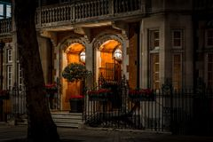 House in Mayfair in Christmas evening, London Stock Image
