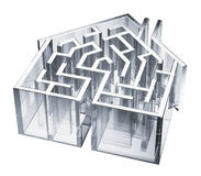 House Maze. Digital illustration of a maze in the shape of a house Royalty Free Stock Images