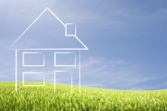 House on a meadow illustration with copy space Stock Photos