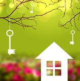 The house in the meadow and the keys on the branches Stock Photo