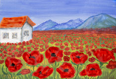 House on meadow with red poppies, painting Stock Image