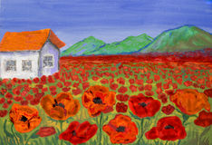House on meadow with red poppies, painting Royalty Free Stock Photography