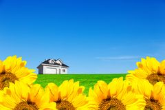 House in a meadow in a sunflower field. A perfect place to live. An amazing sky above the house.  stock images
