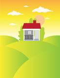 House On The Meadow. Vector illustration of a house on the meadow Royalty Free Stock Images
