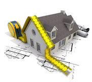 House, measure and plans. 3D rendering of a house with a tape measure on top of blueprints Stock Image