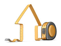 House and measuring tape 3D. Construction tool. Icon  Stock Photos