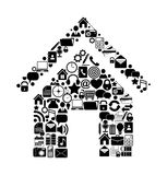 House with media icons Royalty Free Stock Images