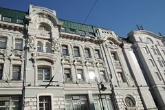House of merchant Mishin in Moscow. Color photo. House of merchant Mishin in Moscow, on Myasnitskaya street. The facade is decorated by women faces. This Royalty Free Stock Photo